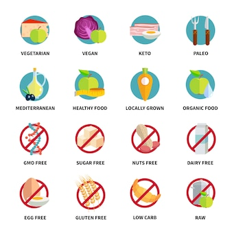 Diets icons set