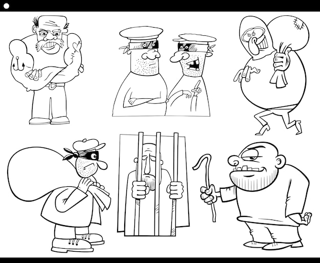 Dieven en misdadigers cartoon set