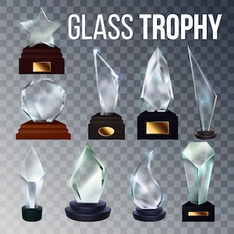 Different form collection glass trophy