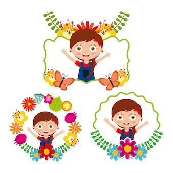 Differents label cute girl happy flowers floral decoration
