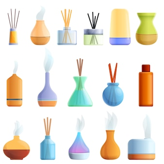 Diffuser iconen set, cartoon stijl