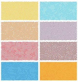 Diffusie naadloze patronen. modern bio-organisch turing-ontwerp met abstracte stippen, stippen en lijnen. geometrische sieraad vector texturen set. afgeronde kleurrijke lijnen. structuur van natuurlijke cellen, doolhof
