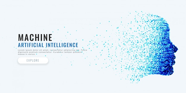 Difital gezicht kunstmatige intelligentie concept achtergrond
