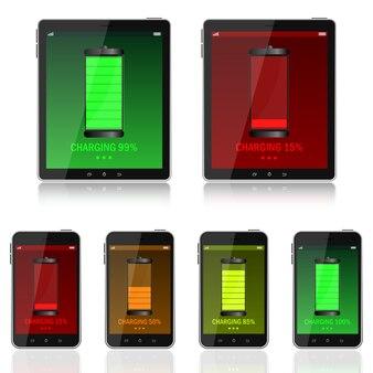 Digitaal apparaat opladen illustratie geïsoleerd op zwarte achtergrond