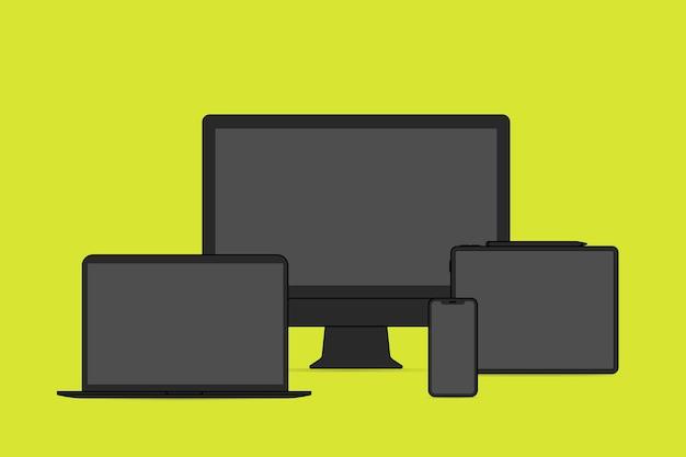 Digitaal apparaatoverzicht, zwarte digitale apparaat vectorillustratie