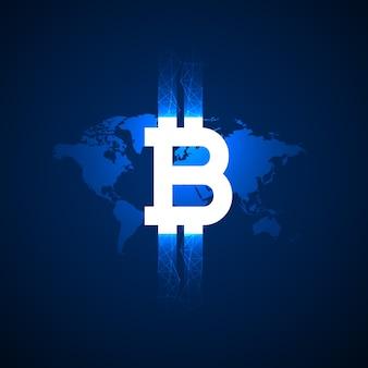 Digitaal bitcoin symbool boven de wereldkaart vector achtergrond