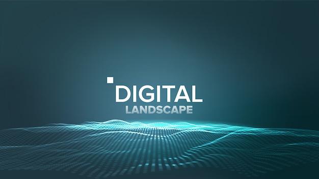 Digitaal blauw landschap