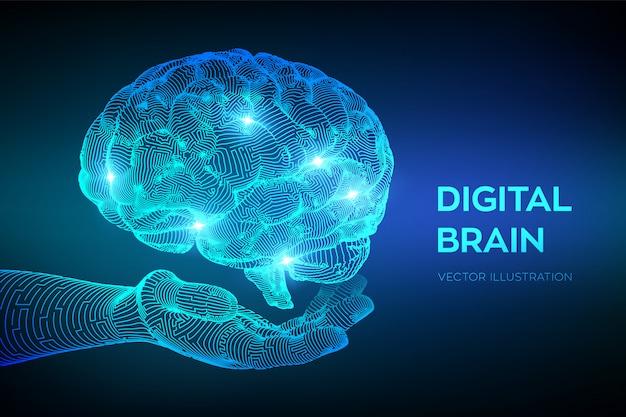 Digitaal brein in de hand. kunstmatige intelligentie virtuele emulatie wetenschapstechnologie.