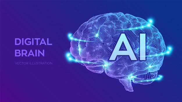 Digitaal brein. kunstmatige intelligentie virtuele emulatie wetenschapstechnologie.