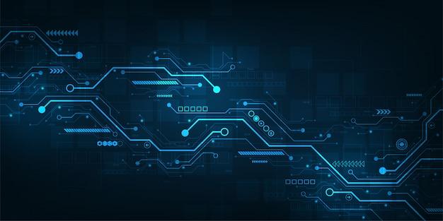 Digitaal circuitontwerp op een donkerblauwe achtergrond.