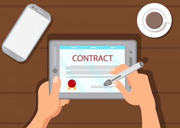 Digitaal contract die vlakke vectorillustratie ondertekenen
