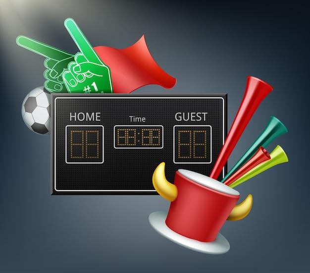 Digitaal display en attributen van de fans met schuimhanden, bal, vlag, trompet en hoed met hoorns
