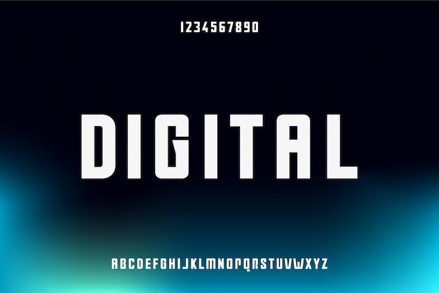 Digitaal, een abstract futuristisch alfabetlettertype met technologiethema. modern minimalistisch typografieontwerp