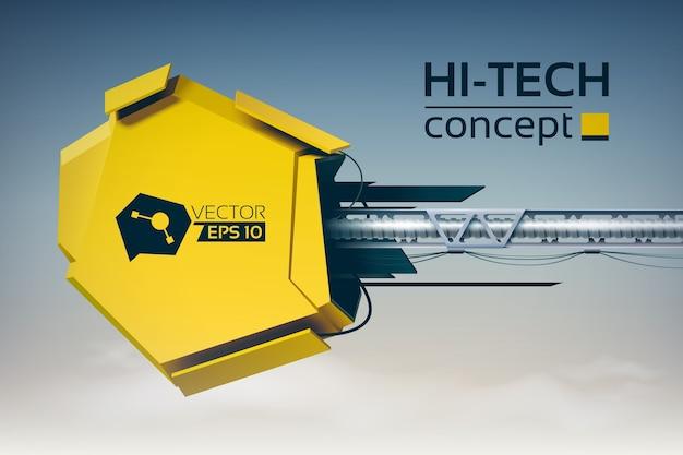 Digitaal futuristisch ontwerpconcept met 3d gele hi-tech constructie op horizontale metalen pijler