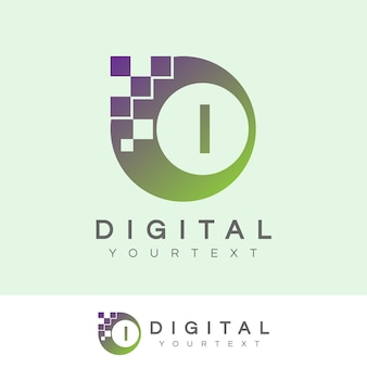 Digitaal initiaal letter i logo ontwerp