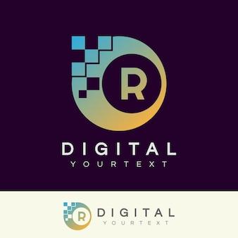 Digitaal initiaal letter r logo-ontwerp