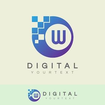 Digitaal initiaal letter w logo-ontwerp