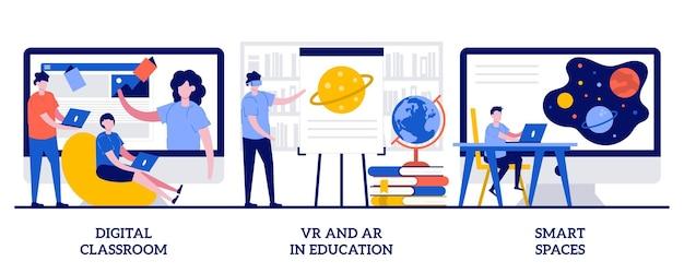 Digitaal klaslokaal, vr en ar in het onderwijs, slim ruimteconcept met kleine mensen. interactieve leerset. blended learning, virtual reality, technologie in het onderwijs metafoor.
