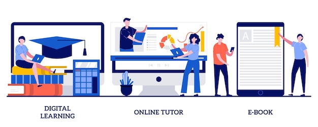 Digitaal leren, online tutor, e-book concept met kleine mensen. set van afstuderen op internet, professionele leraarsservice, elektronisch boekapparaat.