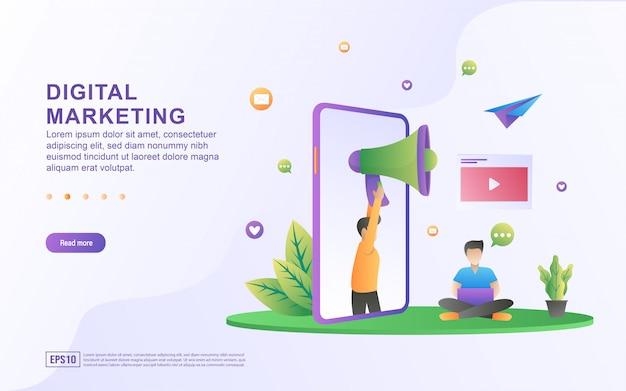 Digitaal marketing illustratieconcept. bedrijfsanalyse, inhoudsstrategie, verwijs een vriend en managementconcept.