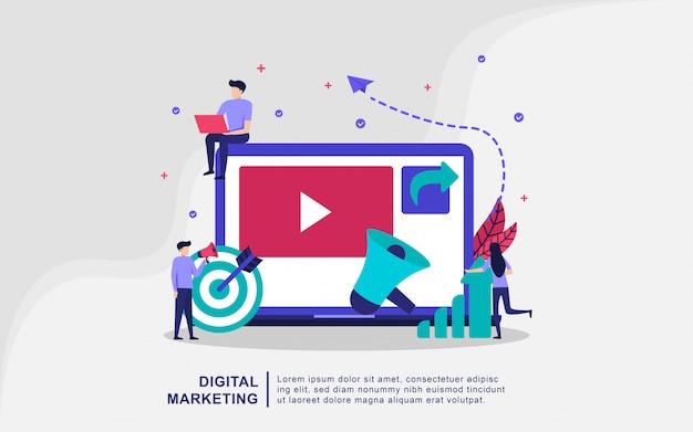 Digitaal marketing illustratieconcept met uiterst kleine mensen