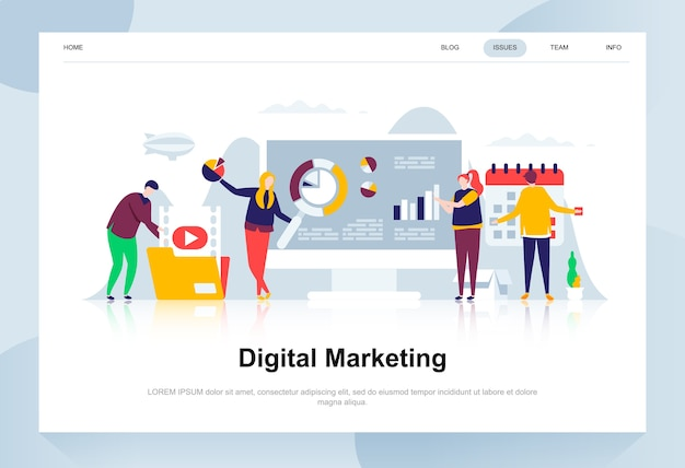 Digitaal marketing moderne platte ontwerpconcept.