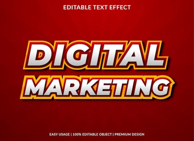 Digitaal marketing teksteffect sjabloonontwerp met gewaagde stijl