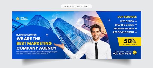 Digitaal marketingbureau en zakelijke facebook tijdlijn voorbladsjabloon