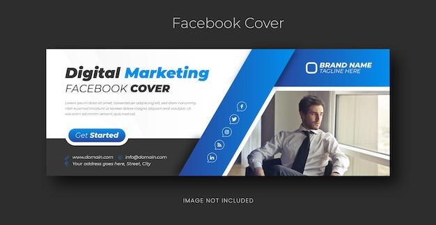 Digitaal marketingbureau en zakelijke facebook-voorbladsjabloon in blauwe kleur