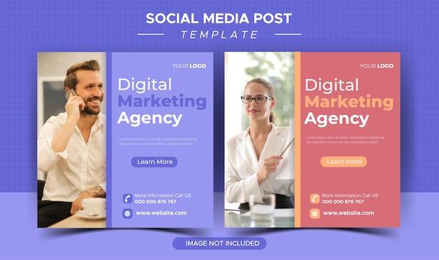 Digitaal marketingbureau en zakelijke postsjabloon voor sociale media