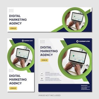 Digitaal marketingbureau instagram post banner sjabloon moderne achtergrond