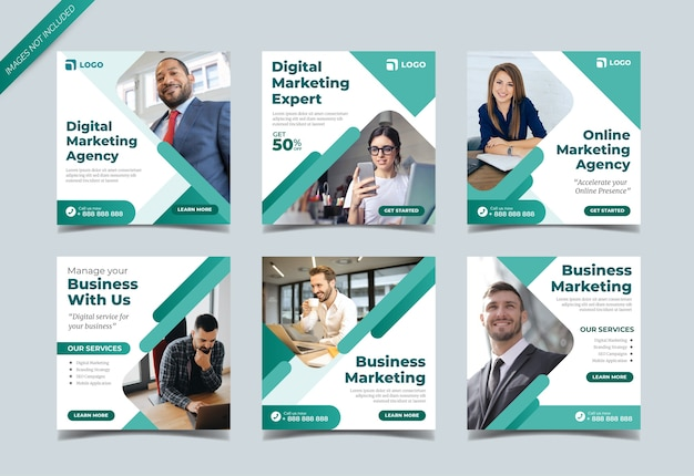 Digitaal marketingbureau instagram postverzamelingssjabloon