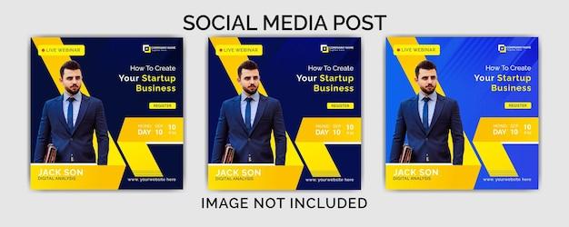 Digitaal marketingbureau sociale media post ontwerpsjabloon premium vector