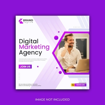 Digitaal marketingbureau sociale media webbanner ontwerpsjabloon premium vector
