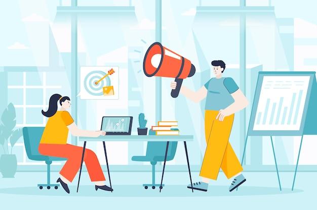 Digitaal marketingconcept in platte ontwerp illustratie van personen karakters voor bestemmingspagina