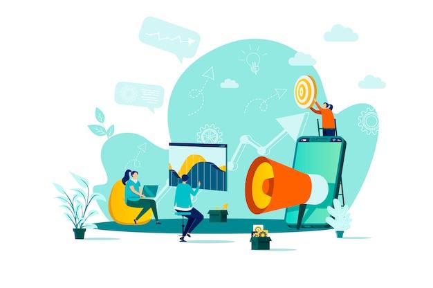 Digitaal marketingconcept in stijl met personenpersonages in situatie