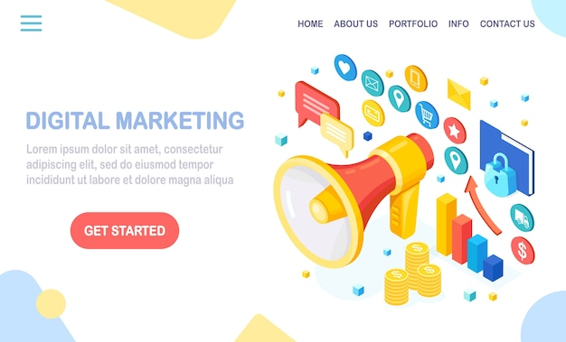 Digitaal marketingconcept. isometrische megafoon, luidspreker, megafoon met geld, grafiek, map, tekstballon. reclame voor bedrijfsontwikkelingsstrategieën. analyse van sociale media.
