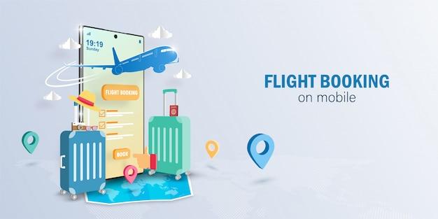 Digitaal marketingconcept online vluchtboeking op smartphone-applicatie