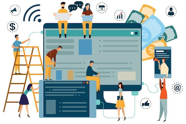 Digitaal marketingconcept seo, marktonderzoek website-codering, internetzoekoptimalisatie