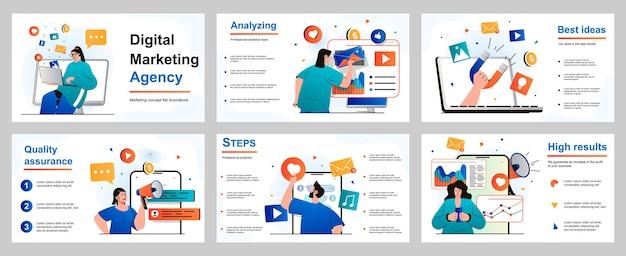 Digitaal marketingconcept voor presentatiediasjabloon mensen maken reclamecampagnes