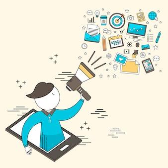 Digitaal marketingconcept: zakenman die een megafoon in lijnstijl houdt