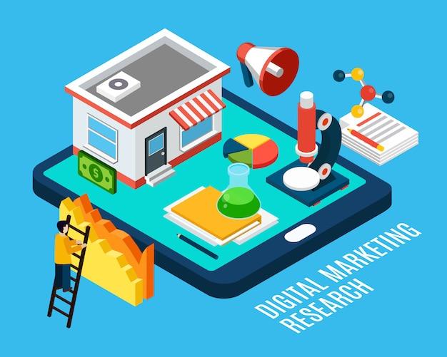 Digitaal marketingonderzoek en hulpmiddelen isometrische illustratie