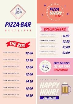 Digitaal menu voor restaurantsjabloon in verticaal formaat