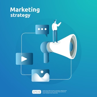 Digitaal mobiel en aangesloten online social media marketingstrategieconcept. verwijs een vriend reclame inhoud promotie strategie vector banner illustratie.
