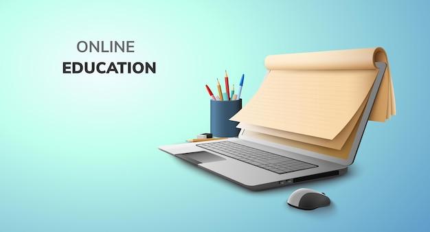 Digitaal online onderwijsconcept en lege ruimte op laptop Premium Vector