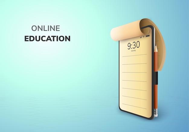 Digitaal online onderwijsconcept en lege ruimte op telefoon Premium Vector