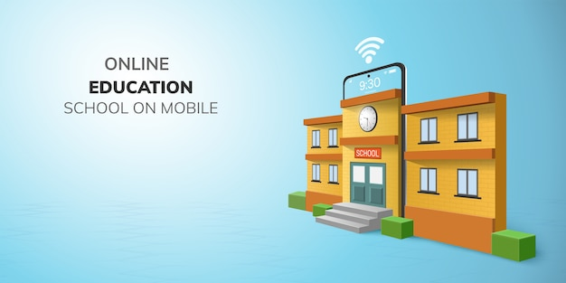Digitaal online schoolonderwijs op telefoon.