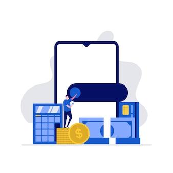 Digitaal portemonnee en e-wallet concept met karakters die betalen via smartphone. online betaling, e-overschrijving.