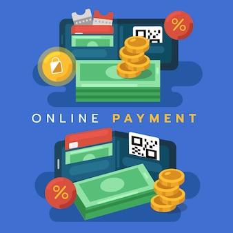 Digitaal portemonneeconcept. online betaling op mobiel