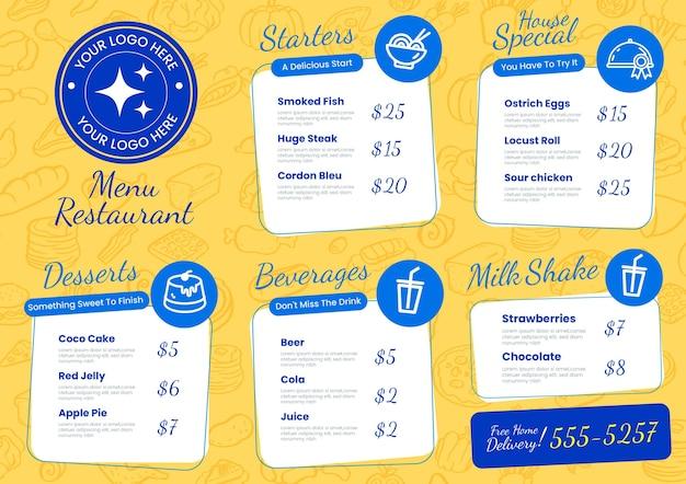 Digitaal restaurantmenu horizontaal formaat